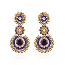 I Jewels Traditional Gold Plated Stone Earrings for Women E2099Bl (Blue) for Rs. 234