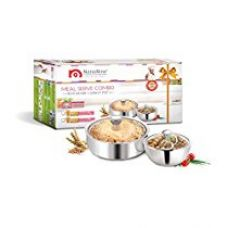 NanoNine Meal Serve Stainless Steel Casserole Set,  2-Pieces, Silver (SS179) for Rs. 882