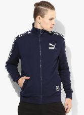 Flat 45% off on Puma Camo T7 Navy Blue Printed Track Jacket