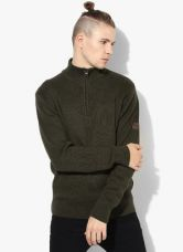 Buy Olive Solid Regular Fit High Neck Sweater for Rs. 1350