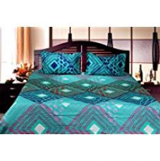 Trident Designer Floral,Solid,Traditional 100% Cotton Double Bed sheet With 2 Pillow Covers- Blue & Green for Rs. 799