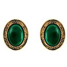 Donna Fashion Green Oval Stud Gold Plated Earrings with Crystals for Women ER30096G for Rs. 249