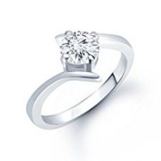 Meenaz Solitaire Silver White Brass Round Shape Stone Ring For Women & Girls Fr120 for Rs. 299