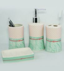 Flat 27% off on Go Hooked Pink and Teal Ceramic 4-piece Bathroom Accessories Set (Model: G539-B)