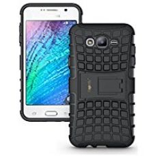 Heartly Flip Kick Stand Spider Hard Dual Rugged Armor Back Case Cover For Samsung Galaxy J7 Sm-J700F 2015 - Rugged Black for Rs. 193