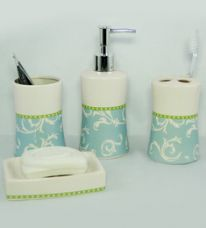 Buy Go Hooked Multicolor Ceramic 4-piece Bathroom Accessories Set (Model: G540-A) from PepperFry