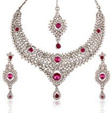 I Jewels Traditional Rhodium Plated Elegantly Handcrafted Stone Necklace Set with Maang Tikka & Earrings for Women M4045ZQ (Rani/Dark Pink) for Rs. 580