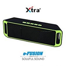 Buy XTRA e-FUSION Wireless 4.1 Bluetooth Speaker Portable Stereo FM Radio, High-Def Crystal Sound, Upto 128GB Micro SD Card Support + USB Playback with Triple Bass + Built-in Mic & 3.5mm Jack - Green from Amazon