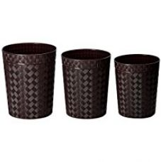 Miamour Set of 3 Plastic Dustbins, 12, 10, 9 Litres, Brown for Rs. 999