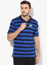 Buy Nike As Nsw Pq Strp Bldchp Navy Blue Polo T-Shirt for Rs. 1077