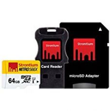 Strontium Nitro 566X 64GB MicroSDXC UHS-1 Memory Card with Adapter and Card Reader for Rs. 1,549