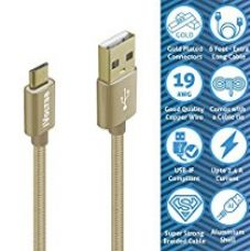 IVoltaa Data & Charging Micro USB Cable 6Ft Long, with Gold Plated connectors and thick copper wires (19 AWG) with 2.4 Amps Charging Speed for Android Smartphones and More (Gold) for Rs. 499
