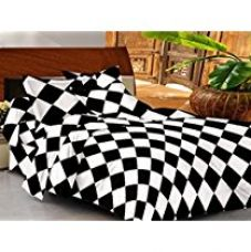 Buy Casa Basic 144 Thread Count Double Bedsheet With 2 Pillow Cover-Black & White from Amazon