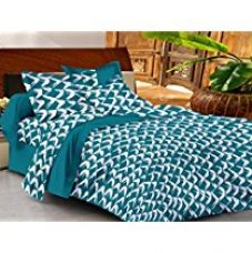 Buy Casa Basic 144 Thread Count Double Bedsheet With 2 Pillow Cover-Blue from Amazon