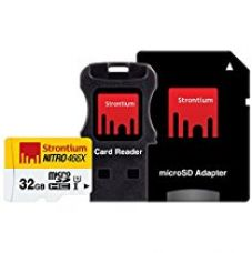 Buy Strontium NITRO 466X 32GB MicroSDHC UHS-1 Memory Card with Adapter and Card Reader from Amazon