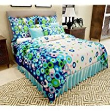 Buy Home Candy 144 TC Floral Charming Cotton Double Bedsheet with 2 Pillow Covers - Blue from Amazon
