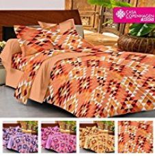 Casa Copenhagen- Basic 144 Thread Count 100% Cotton Double Bedsheet With 2 Pillow Cover- Orange,Yellow,Brown & White…… for Rs. 499