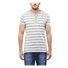 American Crew Men's Henley White & Grey Melange Stripes T-Shirt - L (AC1166-L) for Rs. 599