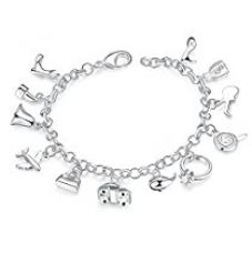Yellow Chimes Jolly Charms 925 Silver Plated (hallmarked) Charm Bracelet for Girls & Women for Rs. 499