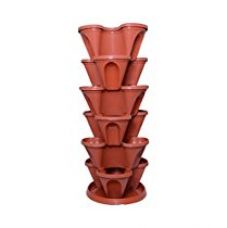Buy Malhotra Plastic Plastic Stack-A-Pot for Floor Set (Terracotta, 7-Pieces) from Amazon