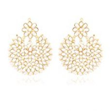 I Jewels White Gold Plated Kundan With Pearl Outline Dangle & Drop Earrings For Women Ed14W for Rs. 379