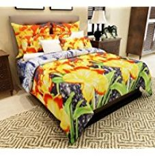 Home Candy Elegant Floral  3-D Reactive Print Double Bedsheet with 2 Pillow Covers - Multicolor (SRB-BST-322) for Rs. 499