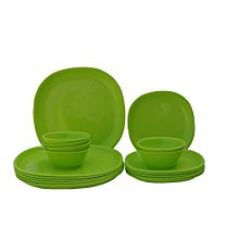 Buy Incrizma Plastic Square Plate and Bowl Set, 18-Pieces, Lime Green from Amazon