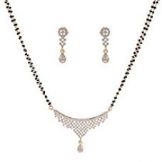 Sempre of London Thread CZ Crystal Diamonds with Gold & Rhodium Plated Mangalsutra with Earrings For Women for Rs. 349