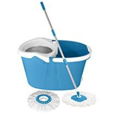Buy Primeway Magic Spin Mop and Executive Bucket for 360 Degree Rotating Cleaning with 2 Microfiber Mop Heads and Steel Dewatering Basket, Blue, 9.5 Ltr from Amazon