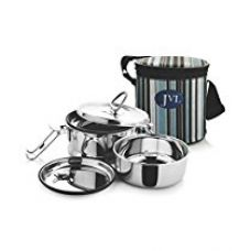 Jvl Leak Proof Stainless Steel Double Decker Lunch Box, 600 Ml, Silver for Rs. 560