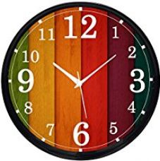 Buy Cartoonpur Analog Round 11 Inch Colourful Wooden Look Silent Movement-Non Ticking Black Wall Clock with Glass from Amazon