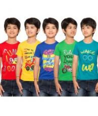 Flat 61% off on Maniac Pack of 5 Multicolour Half Sleeves T-Shirts
