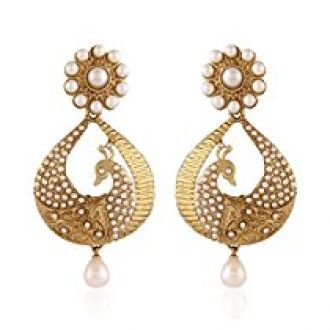 I Jewels Traditional Gold Plated Peacock Shaped Pearl Earrings for Women EM2251W for Rs. 199