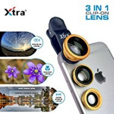 XTRA Universal Clip-On 3 in 1 Mobile Cell Phone Camera Lens Kit, 180 Degree Fisheye Lens + 0.67X Wide Angle + 10X Macro Lens, With Lens Clip Holder, Golden for Rs. 299