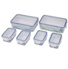 Buy Bel Casa Lock & Store Plastic Container Rectangular Set, 6-Pieces, Clear from Amazon