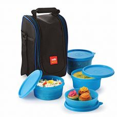 Buy Cello Max Fresh Super Polypropylene Lunch Box Set, 225ml, 4-Pieces, Blue from Amazon