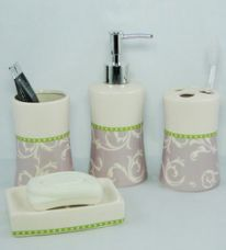 Flat 27% off on Go Hooked Multicolor Ceramic Bathroom Accessories - Set of 4 (Model: G540-B)