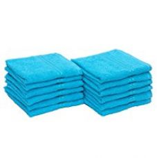 Buy HomeStrap Classic Face Towel Set - 380 GSM -Turquoise Blue - Pack of 12 from Amazon