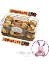 Ferrero Rocher and Toblerone with free Teddy (300  for Rs. 699