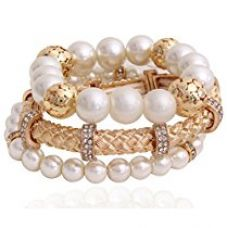 Youbella Presents L'Amore Collection Combo Of Three Bracelet Pearl Studded Gold Plated Bangle Bracelet For Girls And Women for Rs. 299