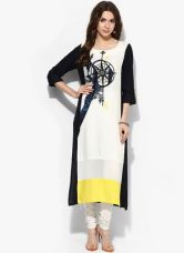 Get 33% off on W Off White Printed Viscose Kurta