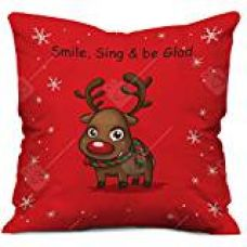 Christmas Reindeer Print Red Cushion Cover with Filler ( Xmas Gift For Her, Him, Boy, Girl, Dad, Mom, Friends, Family ) - Christmas Decorations for Rs. 295
