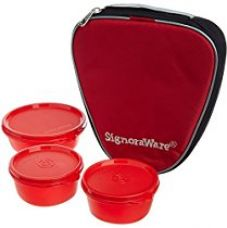Buy Signoraware Plastic Sleek Lunch with Bag, Deep Red from Amazon