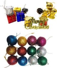 Priyankish 12 in 1 Small Gift Box & 12 Multi Colour Glitter Balls Hanging Ornaments