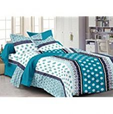 Buy Ahmedabad Cotton Basics 136 TC Cotton Double Bedsheet with 2 Pillow Covers - Geometric, Blue from Amazon