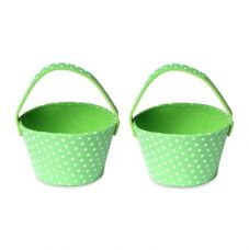 Flat 50% off on Green Color Polka Foam Bucket With Handle Set Of 2