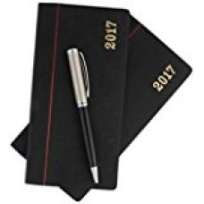 COI Set Of Two Red And Black Appointment Diary / Pocket Diary 2017 With Pen for Rs. 349