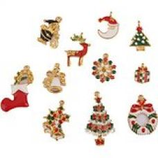 Imported 11 Gold Enamel Christmas Charms Snowflake Charm Pendants Jewelry Findings for Rs. 365