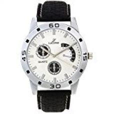 Buy LUCERNE Analogue White Designer Dial Black Leather Strap Stylist Watch for Men A Modern Men Watch Summer Sale Offer from Amazon