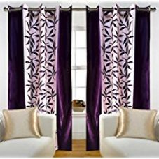 Home Candy Leaves Floral 2 Piece Polyester Window Curtain Set - 5ft, Violet for Rs. 421